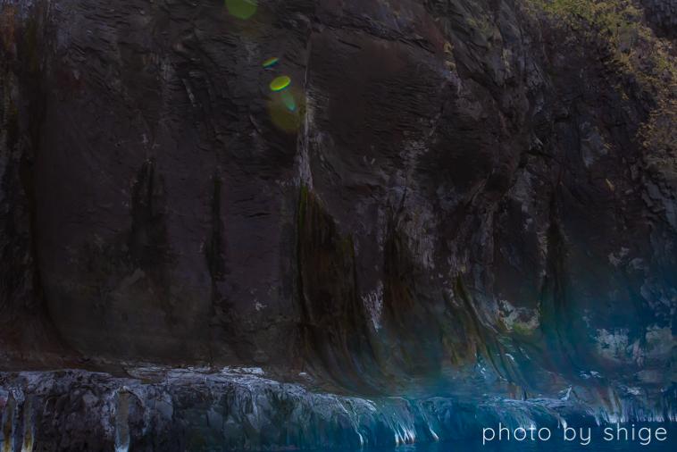 知床五湖から岩盤を伝ってオホーツク海に滲み出る湖の水